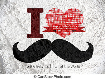 Father's Day card with mustache on Cement wall texture...