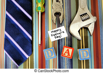Fathers Day collection - Collection of tools with tie and...