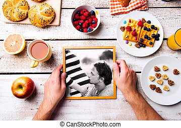 Fathers day composition. Black-and-white photo, breakfast meal