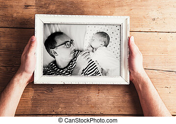 Fathers day composition. Black-and-white picture, studio shot