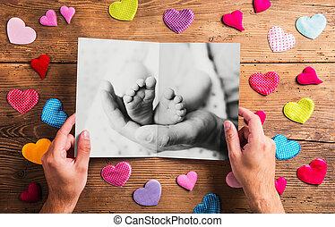 Fathers day concept, black-and-white photo. Studio shot.