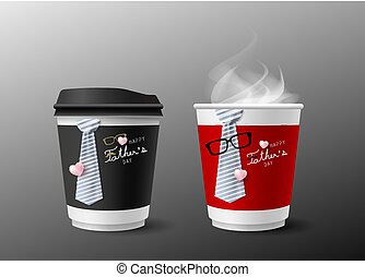 Father's day concept design of hot coffee cup and necktie...