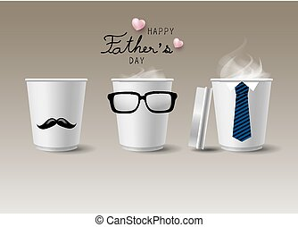 Father's day concept design of hot coffee cup on brown...