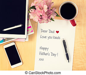 Fathers day concept, Handwritten letter to father