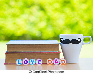 Father's day concept. LOVE DAD alphabet