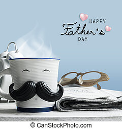 Father's day concept of coffee cup with mustache on wooden...