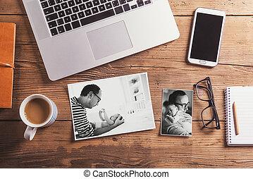 Fathers day concept. Office desk. Studio shot.
