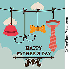 Fathers day design over cloudscape background, vector...