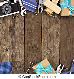 Fathers Day double border of gifts, ties and tools on rustic wood