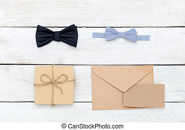 Father's day. duet daddy bow tie and baby bow tie. flat lay