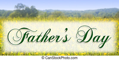 Father's Day in elegant type on a meadow background