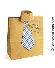 Fathers Day handmade shirt and tie gift bag with greeting card on a white background