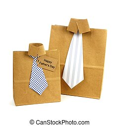 Fathers Day handmade shirt and tie gift bags with greeting card on a white background
