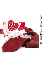 Fathers day - Red tie, gift box and heart shaped card for...