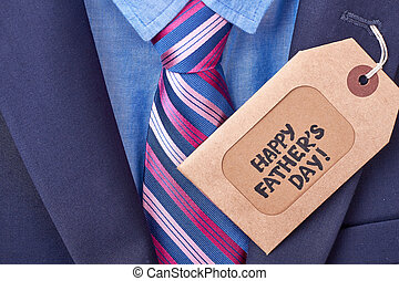 Father's Day tag and suit.