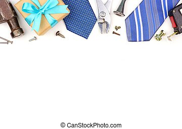 Fathers Day top border of gifts, ties and decor isolated on white