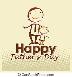 father's day - a yellow background with a dad and his kid...