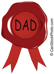 Fathers Day Wax Stamp - A wax stamp with the word 'dad'...