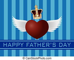 Father's Day with Crown and Flying Heart Illustration