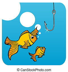 Fathers fish lesson - Father fish teaching his small son not...