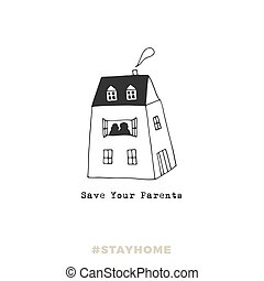 Father's house. A house with silhouettes of elderly people in the window. Covid-19. Vector illustration.