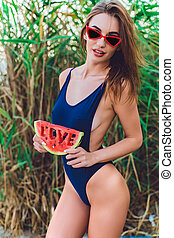 fatia, óculos de sol, ter, melancia, swimwear, mulher