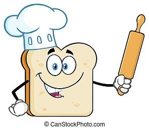 fatia, alfinete, padeiro, personagem, cozinheiro, segurando, rolando, mascote, chapéu, caricatura, pão