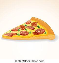 fatia, alimento, rapidamente, vetorial, pepperoni, icon., pizza