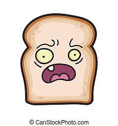 fatia, assustado, caricatura, pão, ilustração