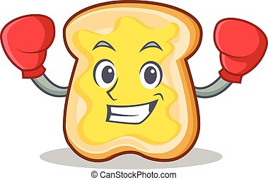 fatia, boxe, personagem, caricatura, pão