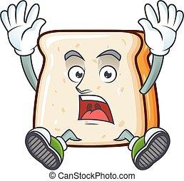 fatia, caricatura, impressionante, pão, rosto feliz, personagem