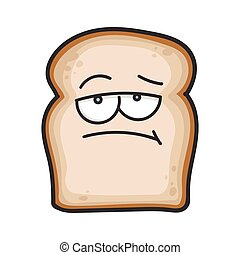 fatia, caricatura, pão, aborrecido, ilustração