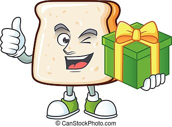 fatia, caricatura, pão, alegre, caixa, presente, personagem, segurando