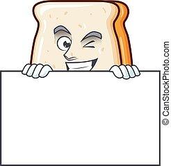 fatia, caricatura, pão, alegre, tem, tábua, personagem