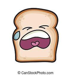 fatia, caricatura, pão, chorando, ilustração