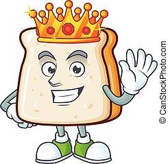 fatia, caricatura, pão, desenho, charismatic, rei, personagem