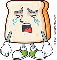 fatia, caricatura, pão, desenho, chorando, rosto, personagem