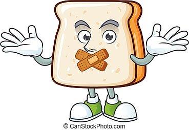 fatia, caricatura, pão, desenho, conceito, gesto, personagem, mostrando, silencioso