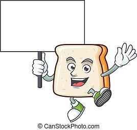 fatia, caricatura, pão doce, tábua, personagem, trazer