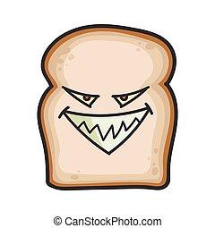 fatia, caricatura, pão, ilustração, mal