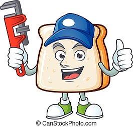 fatia, caricatura, pão, trabalhador, esperto, desenho, encanador, personagem