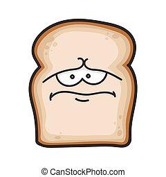 fatia, caricatura, pão, triste, ilustração