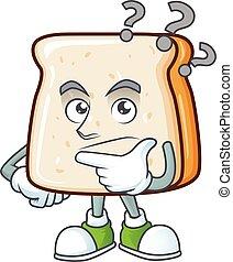 fatia, caricatura, pão, usando, microfone, cute, personagem