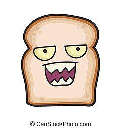 fatia, caricatura, pão, zangado, ilustração