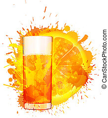 fatia, coloridos, suco, vidro, feito, esguichos, fundo, laranja, branca