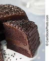 fatia, de, bolo fudge chocolate