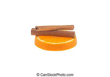 fatia, de, laranja, e, varas canela, isolado, branco, fundo
