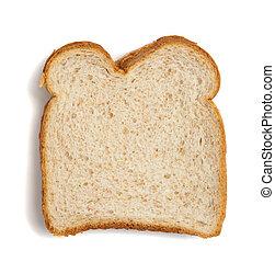 fatia, de, pão trigo, ligado, um, fundo branco