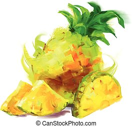 fatia, desenho, abacaxi