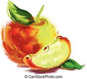 fatia, desenho, maçã